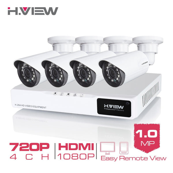 H.View 4CH CCTV System 720P HDMI AHD CCTV DVR 4PCS 1.0 MP IR Outdoor Security Camera 1200 TVL Camera Surveillance System
