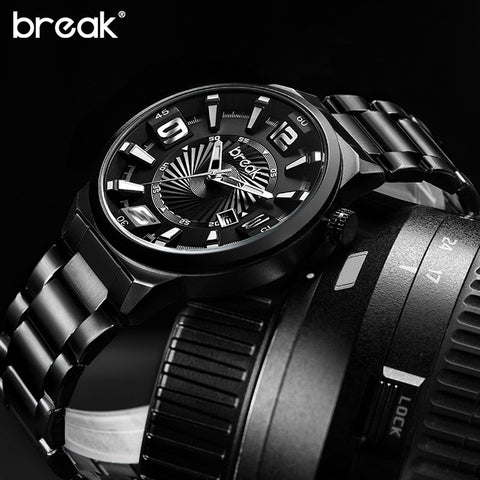 $$$SAVE$$$ BREAK Men Top Luxury Brand Stainless Steel Band Fashion Casual Calendar Quartz Sports Wristwatches Creative Gift Dress Watches