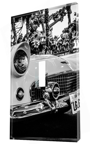 Vintage White car #1 in black and white