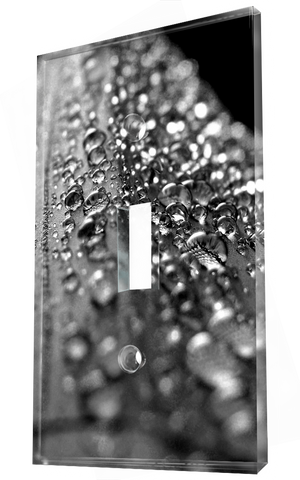Perspective of droplets of rain on a surface