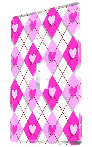 Argyle Pattern 3d Hearts In Pink Shades