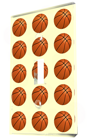 Basketball Pattern On Yellow Background