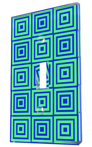 Square Geometric Patterns In Funky Blue And Lime Green