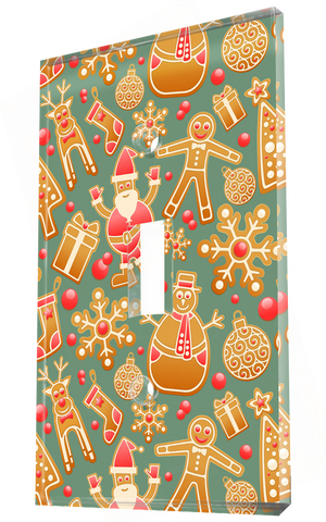 Decorative Christmas Patterns In Sea Green Background