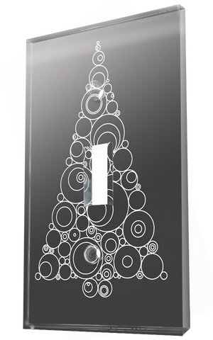 Christmas Tree Of White Circles In Grey Background