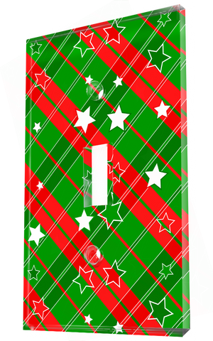 Red, Green & White Stripe And Stars Christmas Wrapper