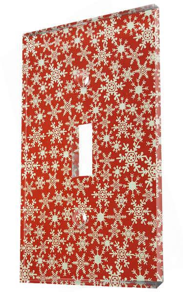 White Ice Crystal Patterns In Red Christmas Wrapper
