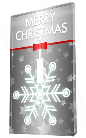 Glowing Ice Crystal Christmas Greeting In Grey