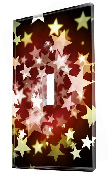 White And Golden Stars In Red Background