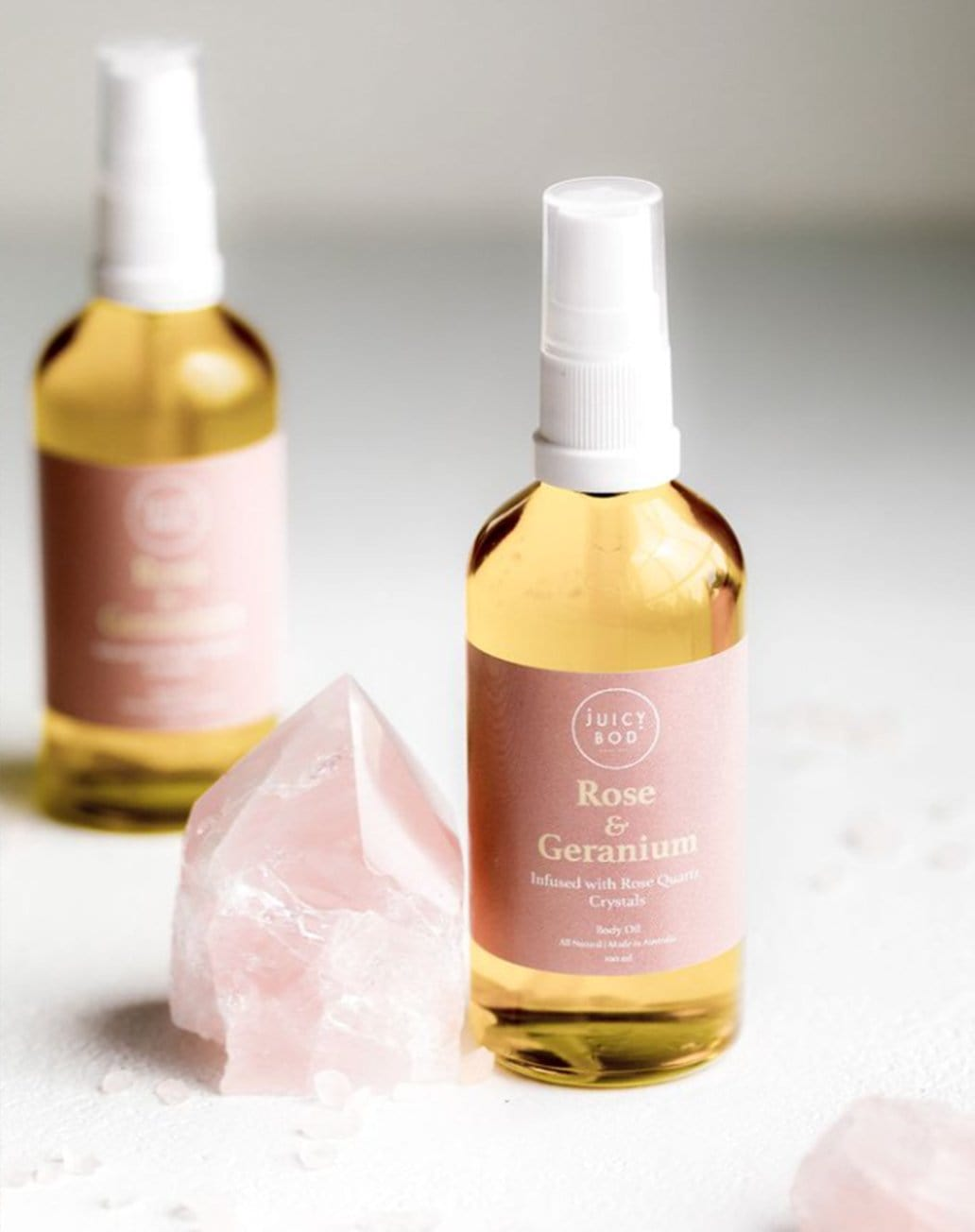 Rose & Geranium Body Oil with Rose Quartz