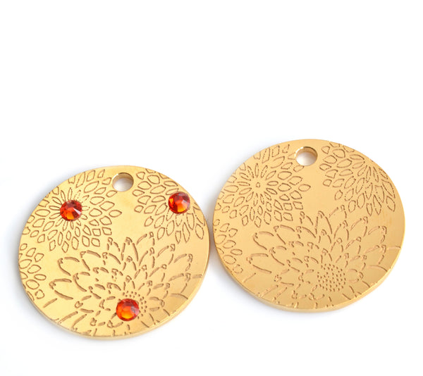 gold plated floral burst PugPendant with orange Swarovski crystals and without