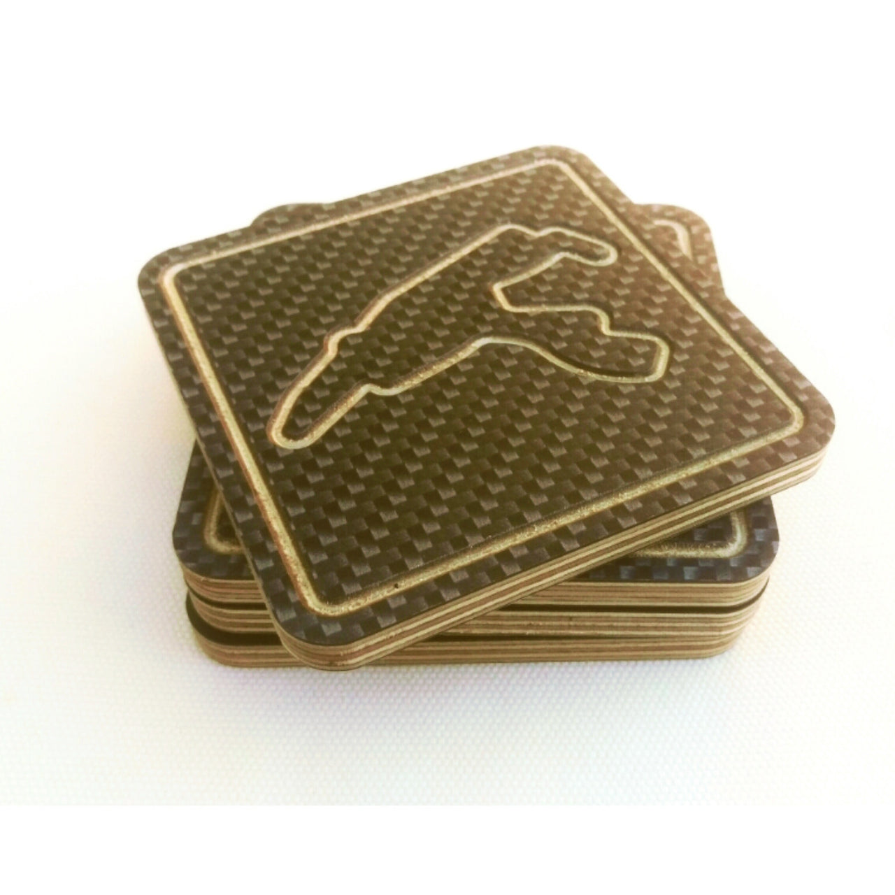 Coaster Set of 6 - Carbon Fibre