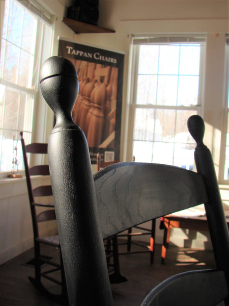 Alfred Village Shaker Rocker - pommel detail with cracked pepper paint