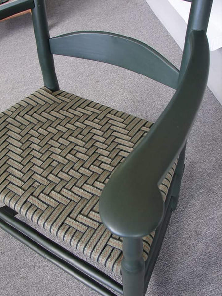 Alfred Village Shaker Rocker - modern width with Lexington green paint, olive stripe diamond