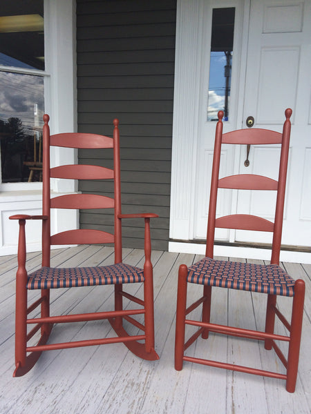 Alfred Village Shaker Rocker and Side Chair - historic paint, seat, and width