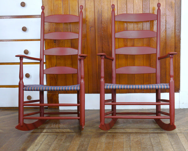Alfred Village Shaker Rocker in historic (l) and modern (r) widths - historic paint and seat