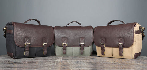 Cotton canvas and leather camera messenger bags