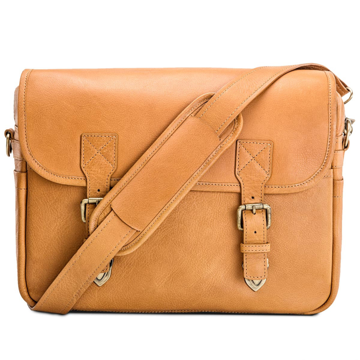 Rimo I in tan leather, stylish dslr camera messenger bag by Blackforest bags  ...