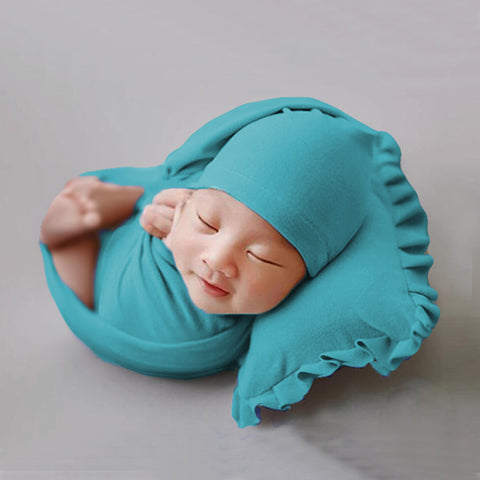 Soft Cute Newborn Photography Props Set (Pillow, Wrap, Bonnet) Newborn Photo Props Set 2 Colors - Don&Judy Newborn&Maternity photography props