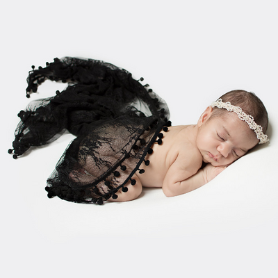 Newborn Stretchy Lace Wrap with Ball Fringe Baby Wrap Newborn Photo Outfits 150X45cm - Don&Judy Newborn&Maternity photography props