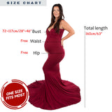 Elegant Sweep Floor Maternity Dresses for Photography Soft Cotton Maternity Photo Dresses 160cm