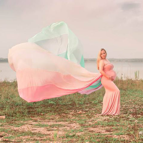Rainbow  Chiffon Long Dress Cloak Cape Maternity Photoshoot Dress - Don&Judy Newborn&Maternity photography props