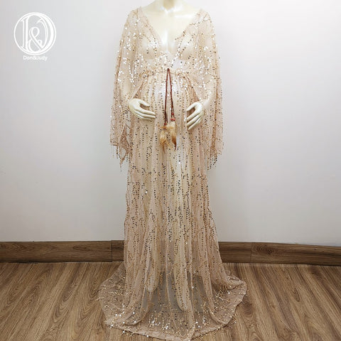Gold Free Size Boho V-neck Long Sleeves Sequence Dress Frange Maternity Gown with Long Tassels Photography Dress Party Dresses Baby Shower Photo Props Kaftan Robe Maternity Couture Pregnancy Clothes for Woman Photo Shoot