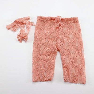 Plum flower Pattern Pants with Headband Newborn Photography Props - Don&Judy Newborn&Maternity photography props