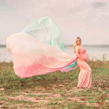 400cm Rainbow Long Cloak Soft Chiffon Cloak Maternity Photo Dresses Cape Maternity Cape