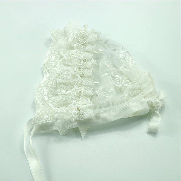 Handcraft Baby Lace Bonnet with Pearl Newborn Photo Outfits - Don&Judy Newborn&Maternity photography props