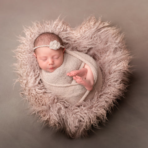 Faux Fur Basket Fillers Soft Long Pile Mongolia Blanket Newborn Photography Props Diameter=60cm - Don&Judy Newborn&Maternity photography props