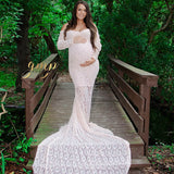 Long Train Lace Maternity Shoot Dresses Long Sleeves V-neck Maternity Photo Dresses 260cm