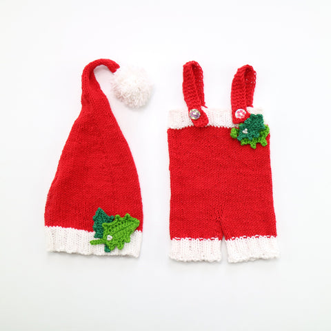 Handknit Soft Cotton Newbron Christmas Pants with matched Hat(set) - Don&Judy Newborn&Maternity photography props