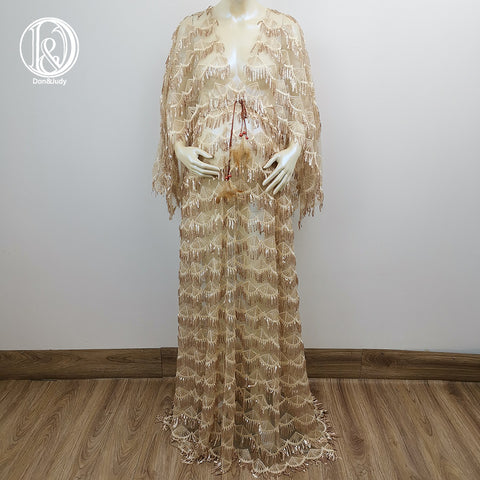 Boho V-neck Long Sleeves Sequence Dress Pregnancy Clothes Frange Maternity Shiny Gown with Crescent Moon Tassels Photography Dress Party Dresses Evening Dress Baby Shower Photo Props Kaftan Robe Maternity Couture Pregnancy Clothes for Woman Photo Shoot