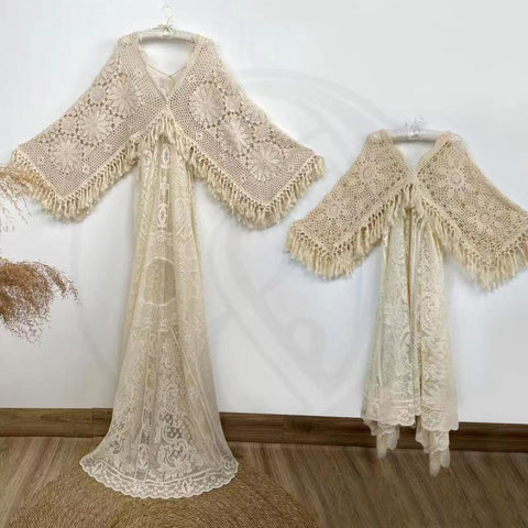 A Set Mom-Daughter Nonmaternity Dress Photo Shoot Boho Free Size Boho Lace Maternity Gown Crochet Photography Dress Party Dresses Baby Shower Robe Maternity Couture