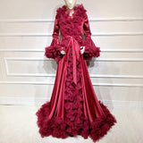 Satin silk Maternity Photography Dress Bell sleeve tulle around accept customize Maternity Photography Gown