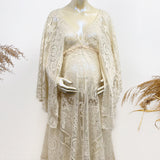 Photography Free Size Boho V-neck Long Sleeve Lace Maternity Gown Photography Dress Party Dresses Baby Shower Kaftan Robe Maternity Couture for Photo Shoot