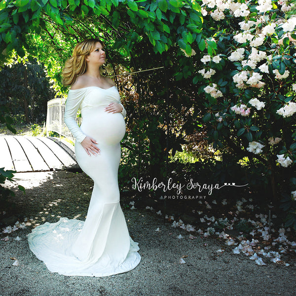 Cotton Long Sleeves with Long Train Low cut Maternity Photography Dress - Don&Judy Newborn&Maternity photography props