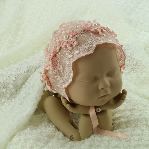 Handcraft Baby Girl Lace Bonnet with Pearl Newborn Props Photography - Don&Judy Newborn&Maternity photography props