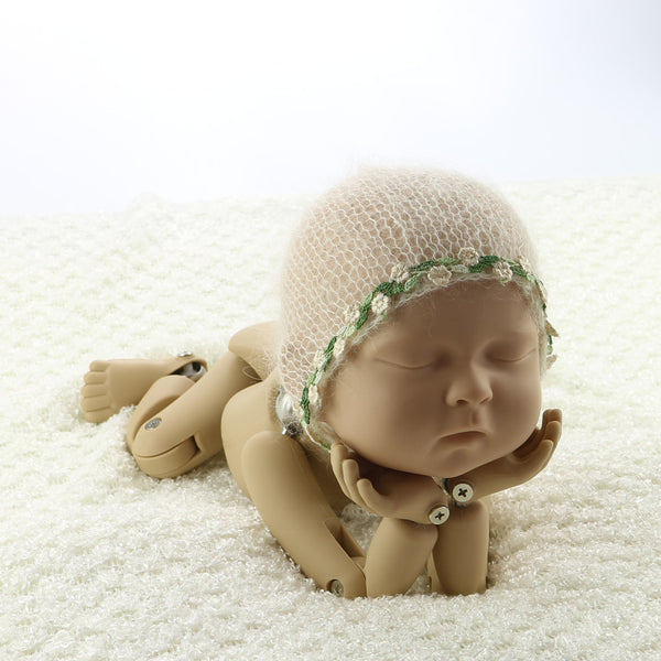 Handknit Real Little Mohair Newborn Baby Bonnet with Green Lace - Don&Judy Newborn&Maternity photography props
