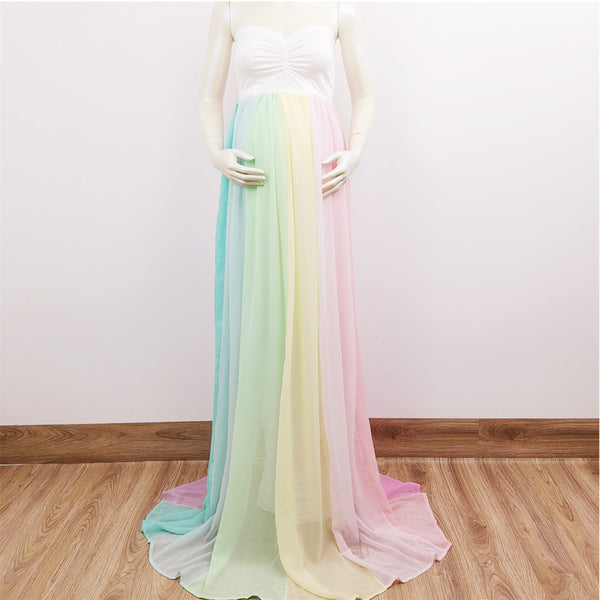 New Stretch Soft Maxi Long Boob Tube Dress+150cm long Chiffon Shawl Pregnant Gown for Maternity Photography Prop Baby Shower Gift