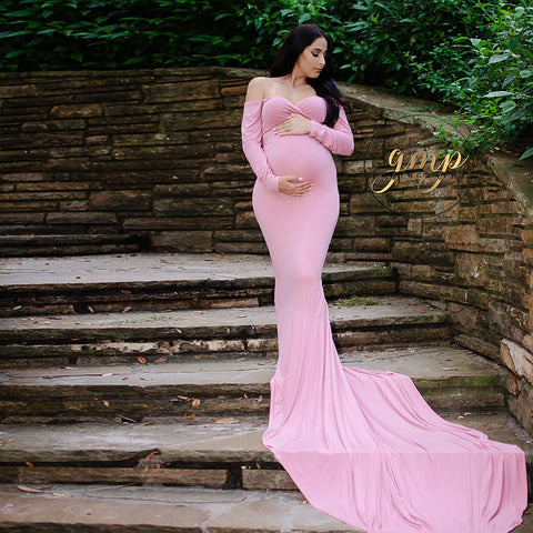 Soft Cotton Long Sleeves Maternity Maxi Dresses for Photography