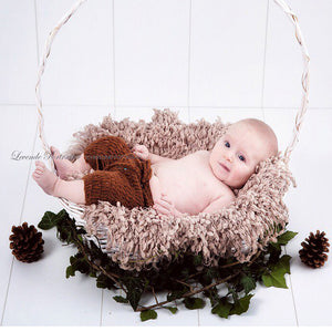 (Diameter 50cm) Handwoven Soft Acrylic Blanket Basket Stuffer Filler Newborn Baby Photography Photo Props Shower Gift