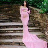 Long Sleeves with Long Train Low cut Maternity Dresses for Pictures - Don&Judy Newborn&Maternity photography props