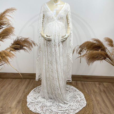 Photo Shoot Boho Free Size Super Long Sleeves Lace Maternity Gown Embroidery Photography Dress Party Dresses Baby Shower Robe Maternity Couture
