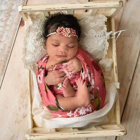 Floral pattern Romper,bonnet, wraps,mini pillow for Newborn Baby Girl Photography Props - Don&Judy Newborn&Maternity photography props