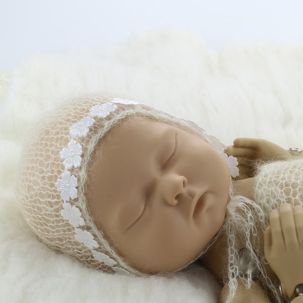 Handknit Bonnet Soft with Vintage Style Hat Newborn Photo Outfits - Don&Judy Newborn&Maternity photography props