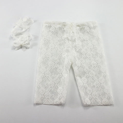 Handmade plum Stretch Lace pants with Headband Newborn Photo Props - Don&Judy Newborn&Maternity photography props