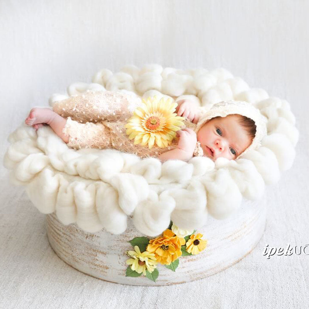 D&J Newborn baby photography props blanket Fluffy Wool Baby Props Photo Basket Filler Stuffer