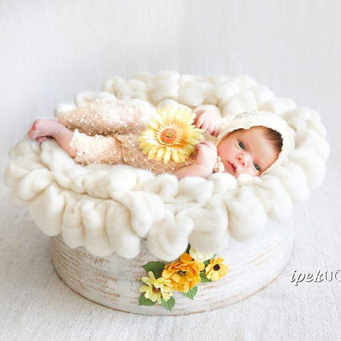 D&J Newborn baby photography props blanket Fluffy Wool Baby Props Photo Basket Filler Stuffer - Don&Judy Newborn&Maternity photography props